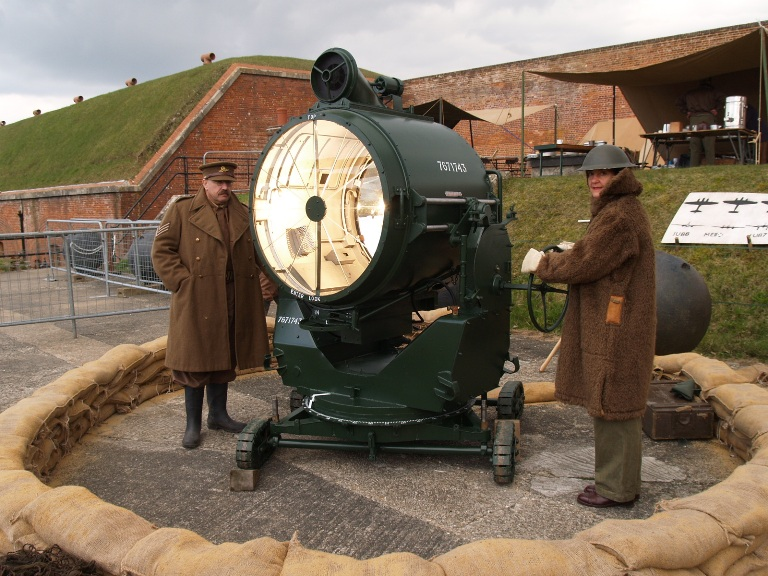 a restored British Army 90cm light operated by the Ack-Ack Living History group